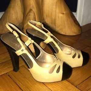 Chanel sparkly champagne black slingback heels